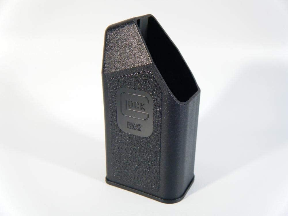 view of the glock magazine speed loader with the glock symbol