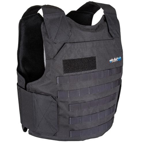 front view of the bulletsafe tactical vest in black
