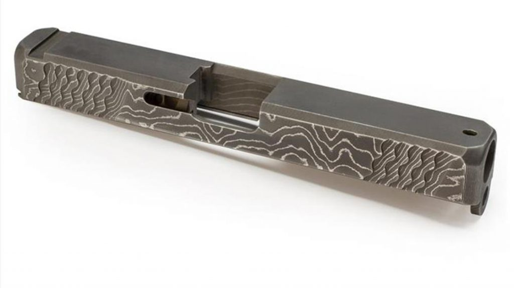 top view of the lone wolf alphawolf damascus slide