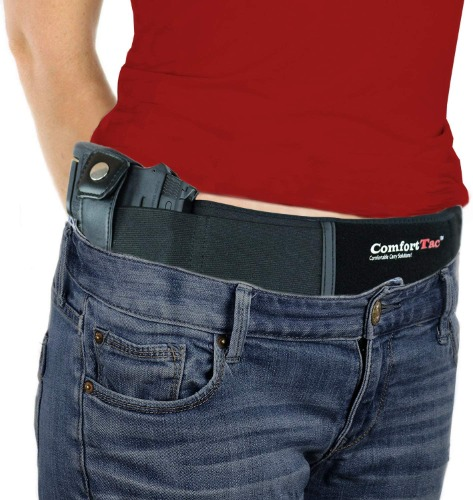 women in red shirt wearing the comforttac belly band